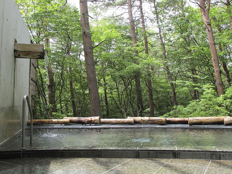ビジターセンター内にある露天風呂。いっぱい遊んだ後は温泉で汗を流そう