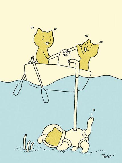 小さなネコたちの1枚絵がまずあり、次ページでショート漫画が展開