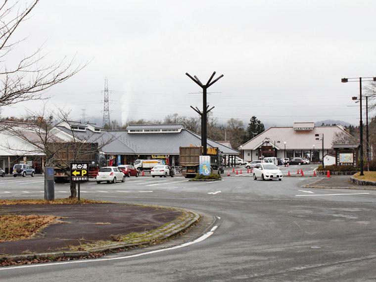 道の駅「喜多の郷」の一番奥に位置する『蔵の湯』。オレンジ色の屋根が目印