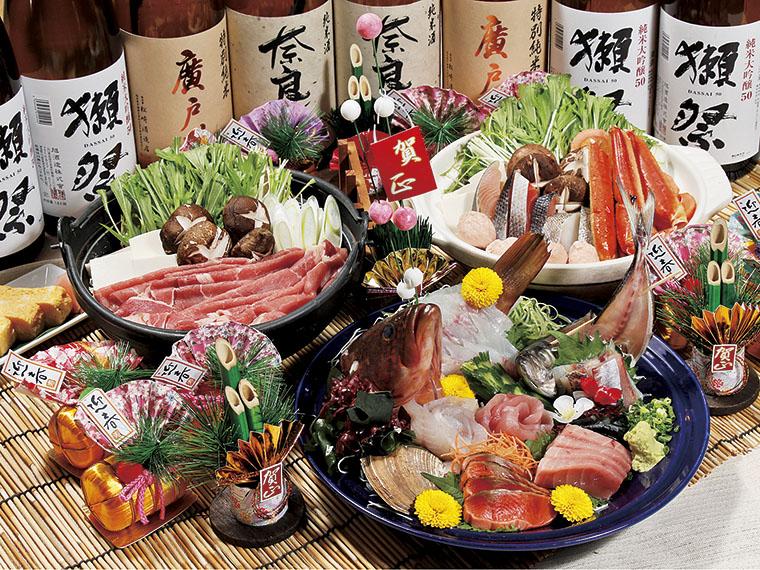 コース一例。厚切り刺身も選べる鍋も、特典③の地酒と相性バッチリ