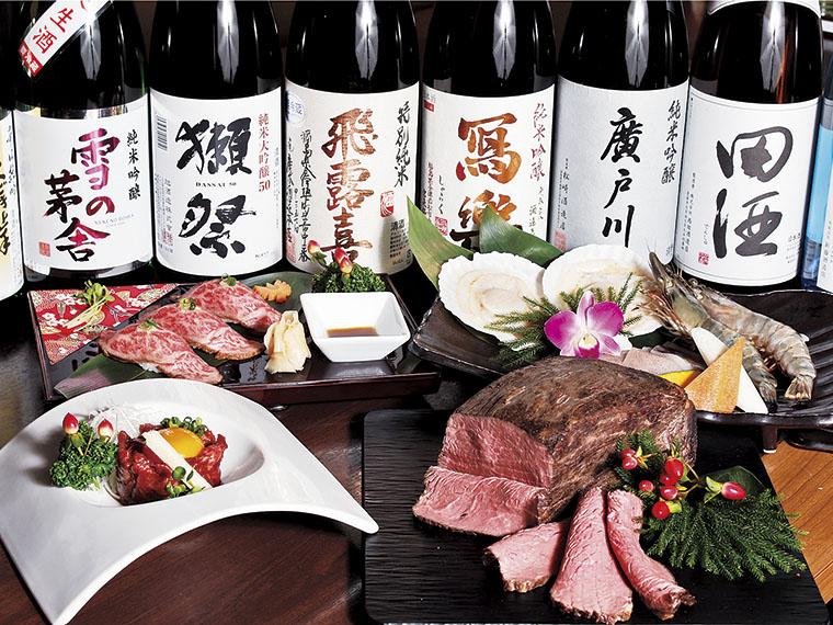 日本酒は1合700円から。日本酒好きも十分に満足できる品揃え。おいしい肉とともに味わって