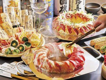 前田美豚の鉄板しゃぶしゃぶとともに、日本酒を