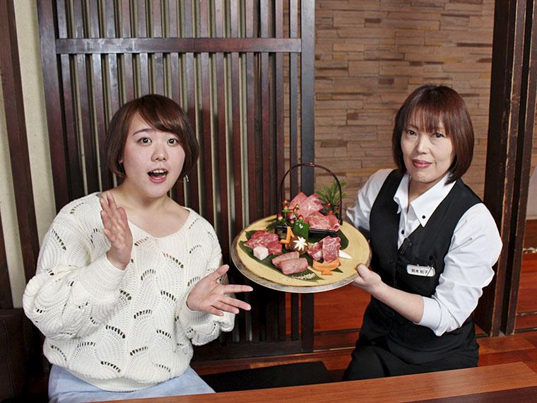 「焼肉もぜひどうぞ~」と美しい女性店長の鈴木さん。お肉の知識も豊富で気前もいいし弟子入りしたい