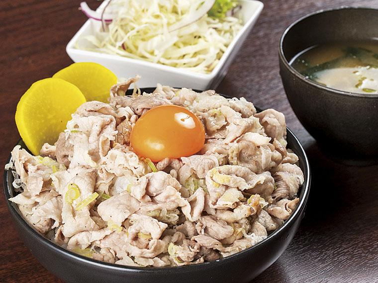 ぶた野郎丼 650円〈ぶた野郎丼・みそ汁・サラダ・玉子〉【提供時間11:30〜14:00(13:30ラストオーダー)】