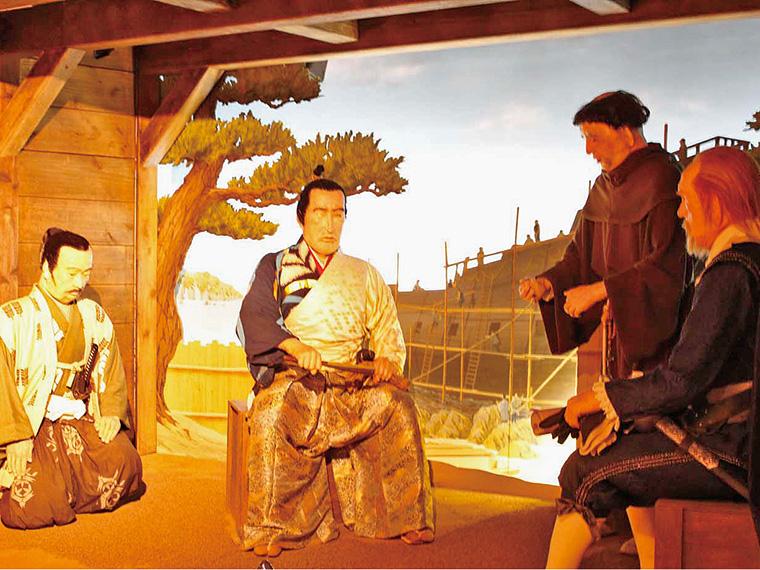 館内では東日本大震災当時の様子、使節が辿った足跡をパネルやジオラマ、シアターで紹介している