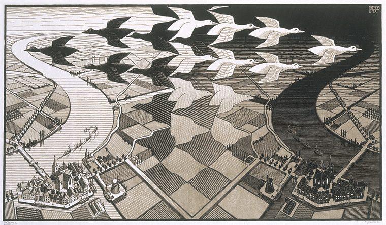 M.C.エッシャー《昼と夜》1938年 板目木版 2色刷 ハウステンボス美術館蔵 All M.C.Escher works(c)Escher Holding B.V.-Baarn-the Netherlands