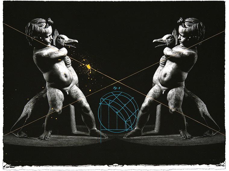 回廊にて―Boy with a goose (版画集〈Element―回廊を逃れゆくアポロニウスの円〉より) 2007年  エッチング、フォトグラビュール  28.5×38 cm