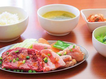 ランチに焼肉はいかが?ハラミステーキにライス・スープ・サラダ・小鉢付き
