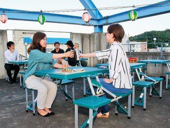 南福島のビル屋上にビアガーデン出現!!ビール250円、おつまみ100円から!