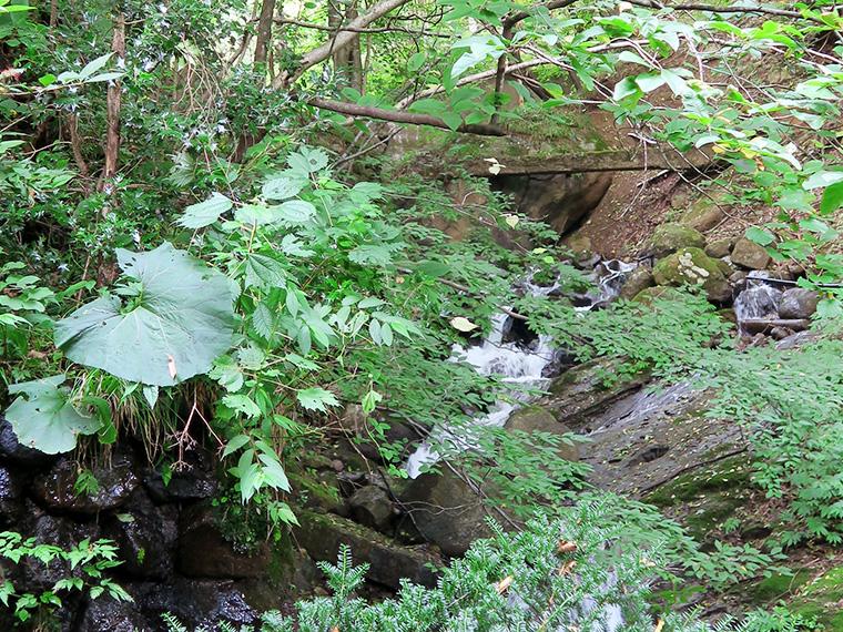 露天風呂のすぐそばを流れる、小さな川