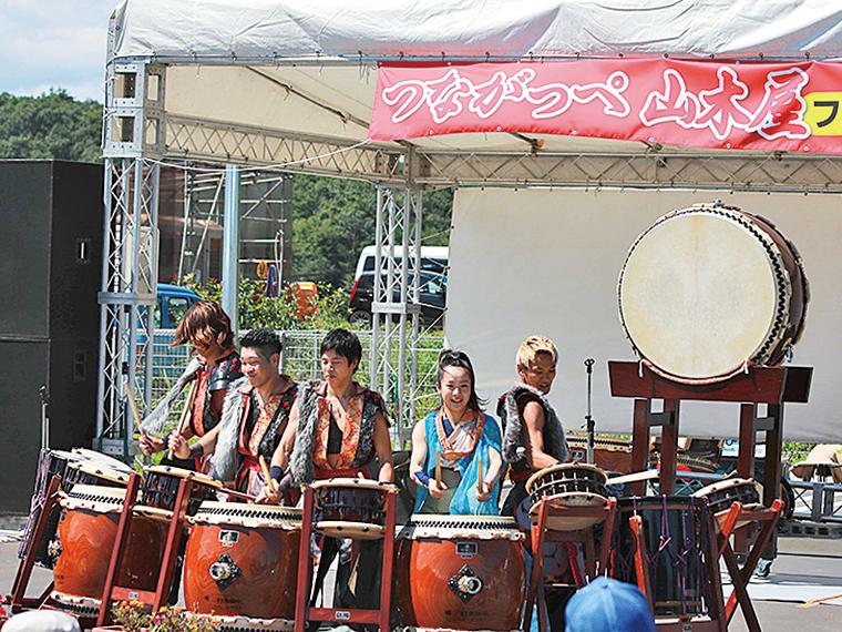 迫力の山木屋太鼓のステージ