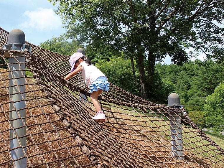 自然を感じて思いっきり遊ぶなら「キッズパーク」へ。試行錯誤しながら頂上を目指そう!「ビジターセンター」内には、屋内で身体を動かせる遊び場も