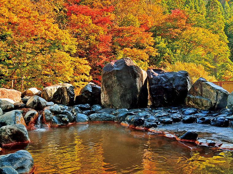 秋色に染まる山を目の前に望む、「山桜の湯」の岩造りの露天風呂
