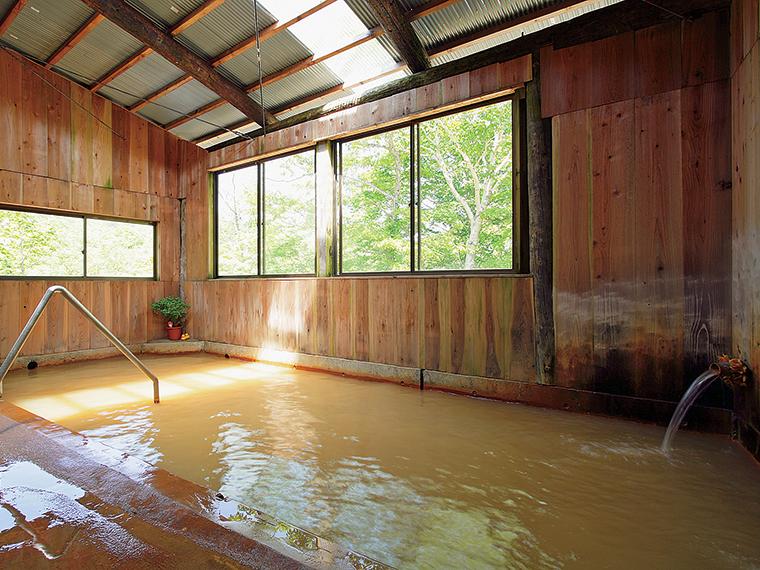赤褐色の湯が満々と注がれる内湯