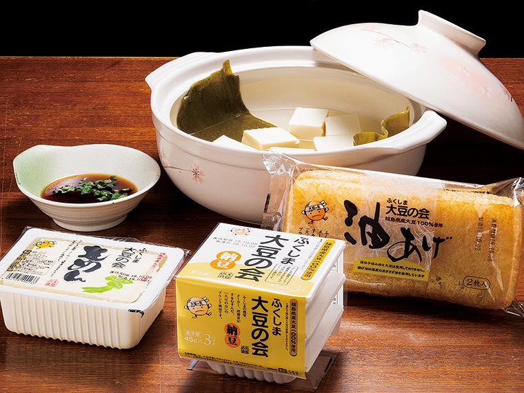 これからの季節は湯豆腐がおすすめ。豆腐(131円税別)、納豆(131円税別)、油揚げ(161円税別)