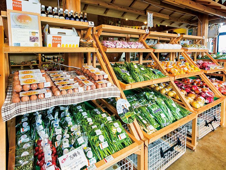 """""""毎日の食事から、食の安全を見直す""""がコンセプトの直売所には、地元生産者が真心を込めて作った農産物が並ぶ。「ここたま」は10個入り540円から"""