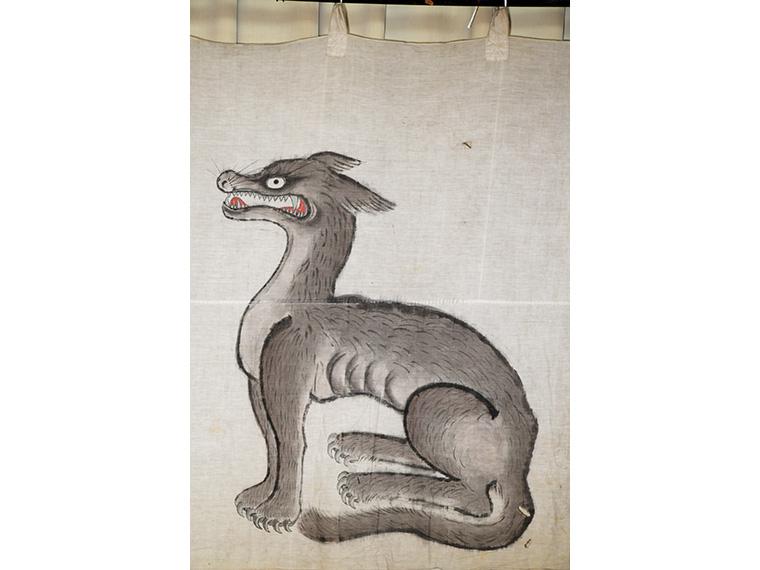 『狼像がある祭礼用の幕』(部分)、明治27年、 福島県南相馬市小高区吉名の山津見神社
