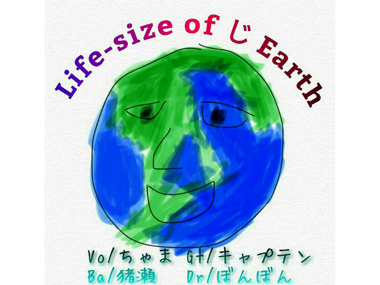 Life-size of じ Earth