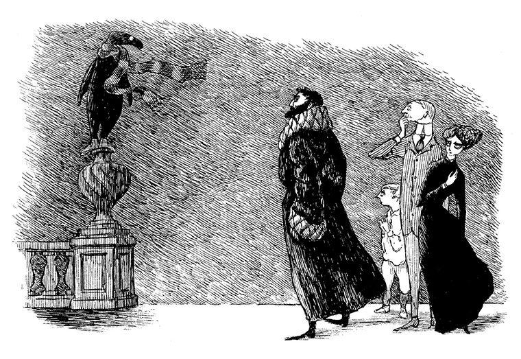 エドワード・ゴーリー 『うろんな客』原画、1957年(C)2010 The Edward Gorey Charitable Trust