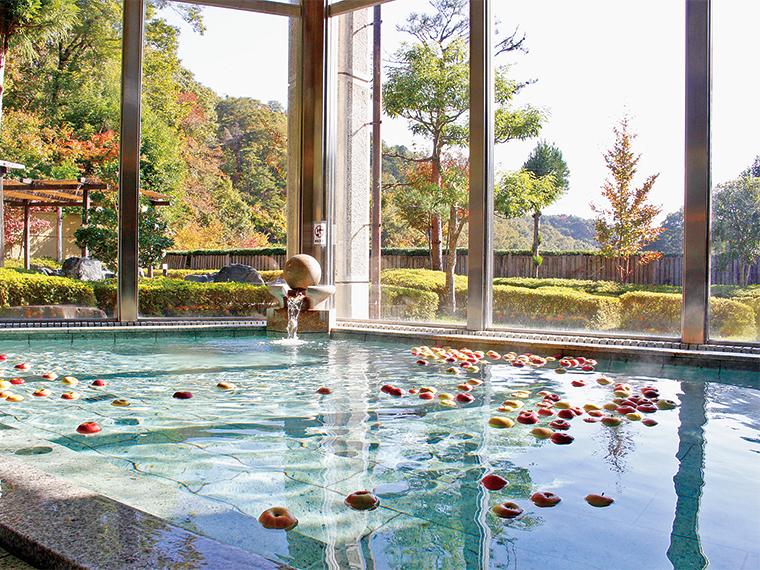 大きな窓から光が差し込む。八溝山系の雄大な自然を眺めながら入浴できる