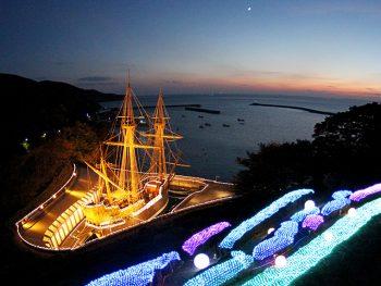 慶長遣欧使節を乗せた船の復元船が、ライトアップ!