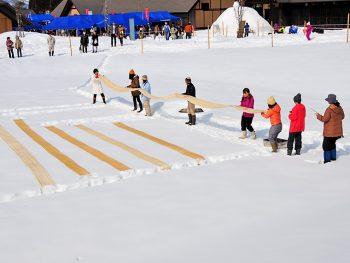 昭和村で企画満載の雪祭り!伝統技術「からむし織雪ざらし」の実演も