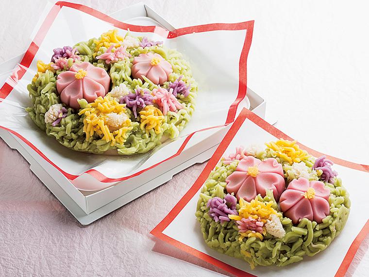 「和菓子の。」一例。春の風景をイメージした。左から(大)2,600円、(小)1,300円