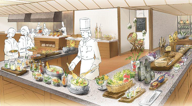 メインは出来たての料理を一皿づつ受け取ることができる。料理が出来るまでは、さまざまな食材を見ながら料理人との会話も、楽しい旅の思い出に