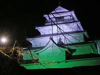 鶴ヶ城と福島駅西口・東口をグリーンにライトアップ!