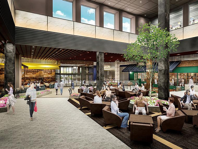 仙台空港線「杜せきのした駅」に直結する2階には、開放感あふれる吹き抜け空間「杜のテラス」が誕生!