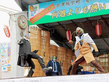 ご当地ヒーロー「初市戦士タワライガー」も登場!会津坂下町の夏祭り