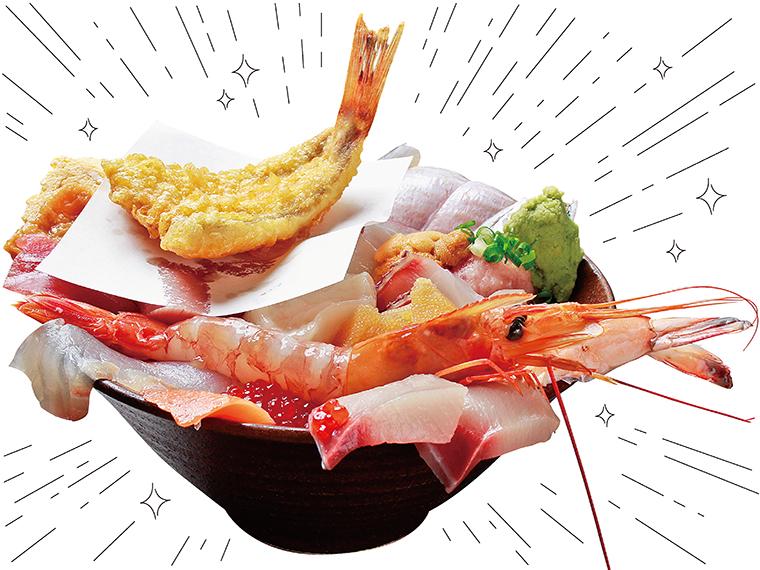 名物の「海鮮丼」(2,200円)。15種類の海の幸が丼いっぱいにのっている