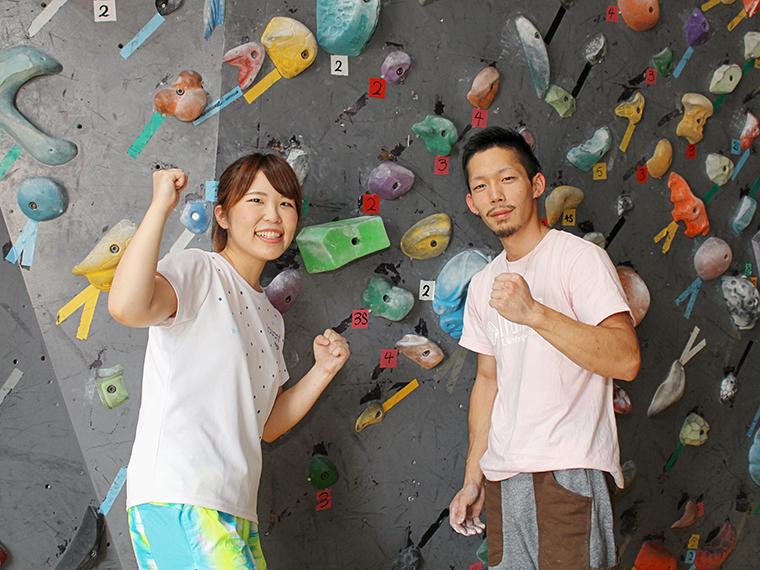 「実は私、運動神経良いから意外と登れちゃうかも」と自信満々のおいちゃんと、レクチャーしてくれたイケメンスタッフさん