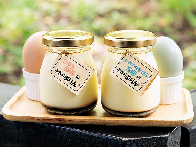 「コピスCafe」の「青卵ぷりん」(378円)と「春卵ぷりん」(324円)は、やさしい味わい。テイクアウトも可能