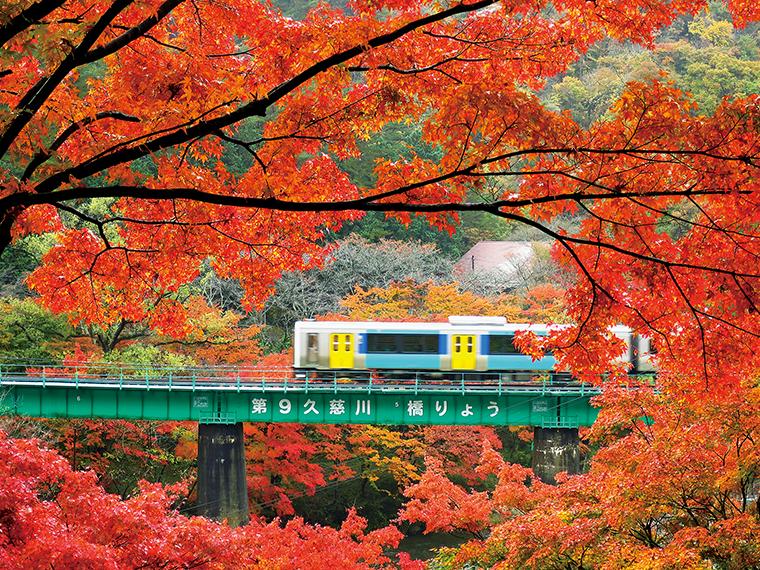 矢祭山は、久慈川の清流と奇岩・怪岩が続く起伏に富んだ景勝地。秋は紅葉が山全体を紅に染める。滝川渓谷とともに11月初旬から下旬が見頃