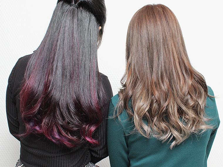 ベースの髪色に、赤・青・ピンク・紫・グリーンなどアクセントカラーを施してオシャレにカッコよく