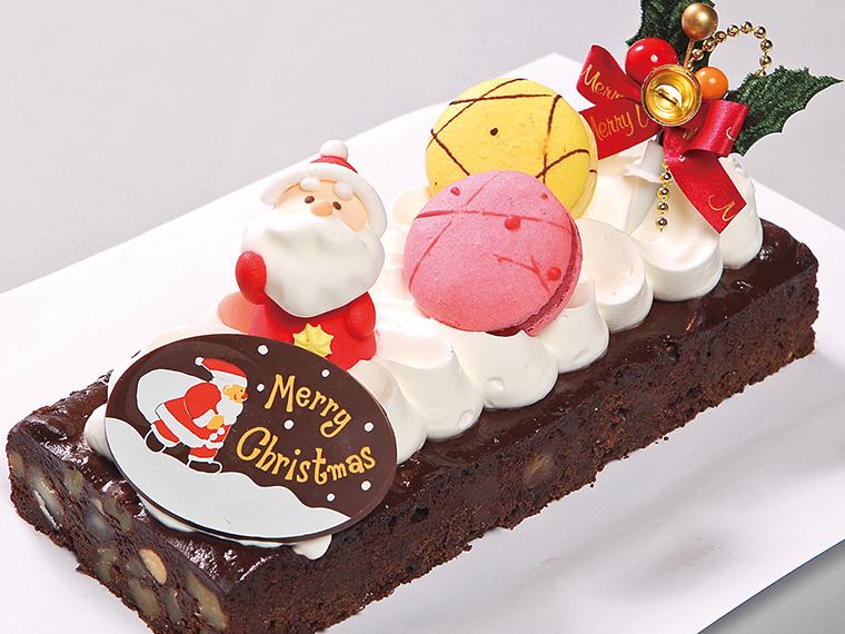 クリスマス ブラウニー(チョコ生地・高さ約3cm×幅10cm×長さ16cm)