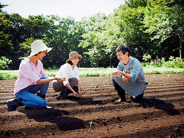 アグリガーデンの畑とグリーンハウスで行われる、毎日の農作業を学べる「ファーマーズレッスン」