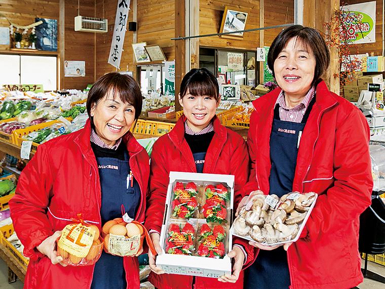 摘みたての完熟イチゴはJAの農産物直売所「太郎の四季」などで購入できる。コンニャクやユズなどの特産品も時期によって並ぶ