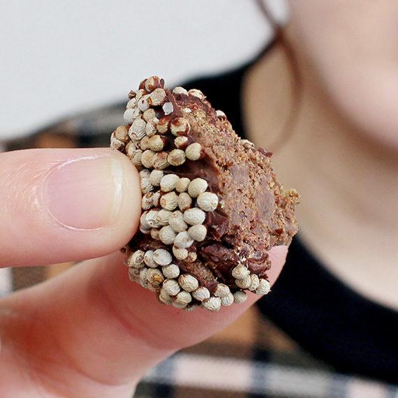 固めのチョコレートの内側には、エゴマが練り込まれたほろほろのチョコレートが