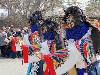 春の訪れを告げる彼岸獅子が、今年も鶴ヶ城にやってくる