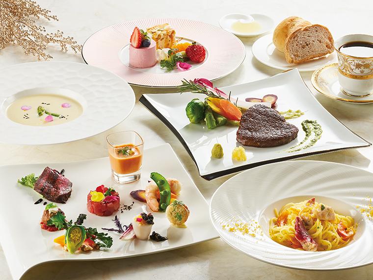 「San filoコース」(5,500円)。3月から5月限定のメニュー。前菜8種盛り合わせ、スープ(魚介スープか旬野菜のポタージュ)、パン、パスタ(ボンゴレビアンコ生パスタ リングイネ)、メイン(福島県産牛フィレ肉のローストか旬魚のブレゼ)、デザート盛り合わせ、有機コーヒーか紅茶がセット。旬を愛で五感で楽しむ