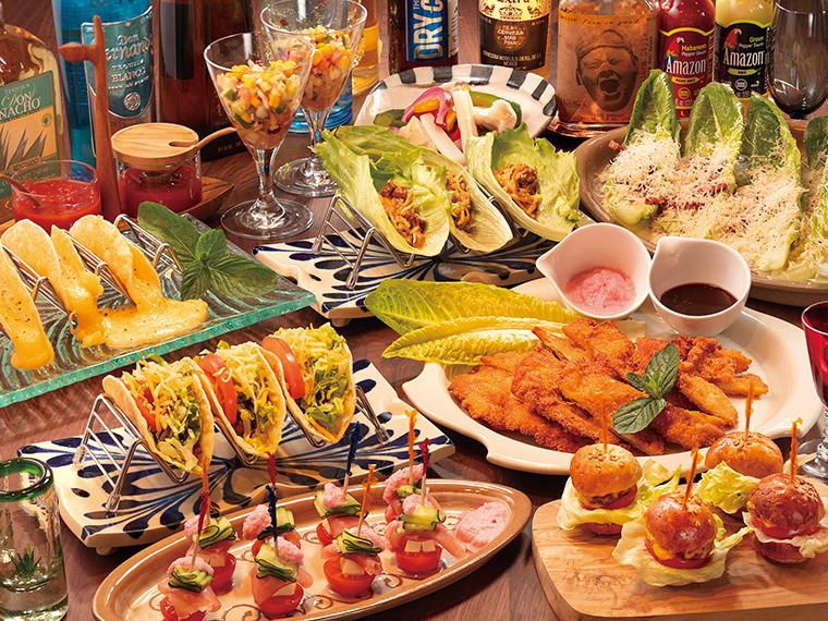 コースの料理一例。料理のみのコースも用意。ドリンクは厳選したメキシコのドリンクを中心に種類が豊富!
