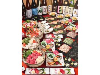 3月までは選べる豪華鍋付き。地酒と地物料理で、すてきな歓送迎会を