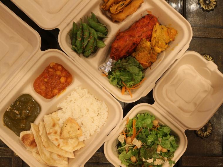 (写真右)おつまみセット、(左)チャイパ二弁当、下野菜サラダ