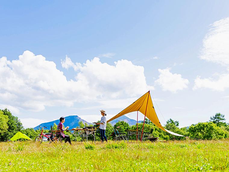 磐梯山を望む区画オートサイト