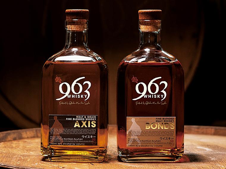飲み方として万能な「AXIS」(700ml・5,280円、写真左)、長期熟成原酒などの多彩な原酒をブレンドした「BONDS」(700ml・9,680円、写真右)