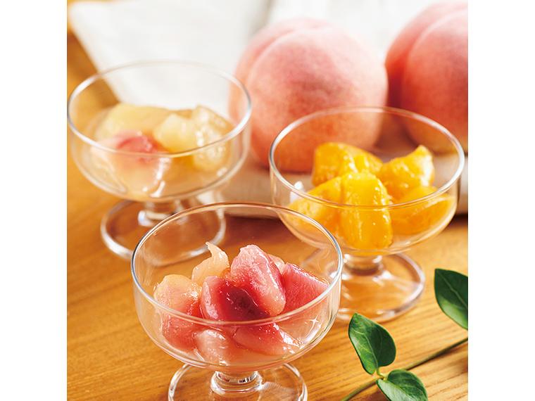 冷凍モモ「ももふる」。味と香りが濃い福島の代表品種「あかつき」、酸味ひかえめの「川中島白桃」、マンゴーのような味わいの「黄貴妃」などを食べ比べてみて
