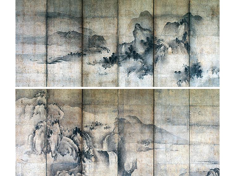雪村周継 《四季山水図屏風》 16世紀後半 郡山市立美術館蔵 ( 上/右隻、下/左隻)