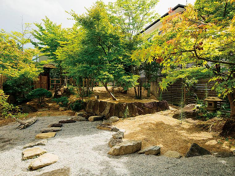 モミジや飛び石などが美しく配置された庭。これからは紅葉を、その後には積雪、緑というように季節ごとに楽しめる